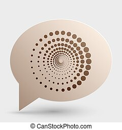 Abstract technology circles sign. Brown gradient icon on bubble with shadow.