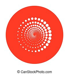 Abstract technology circles sign. White icon on red circle.