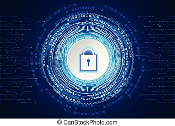 abstract technology concept cyber security padlock circle white gray digital on hi tech blue background