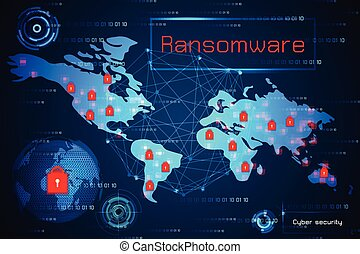 abstract technology concept cyber security with ransomware alert warning on map world, antivirus, malware and virus crime on hi tech background