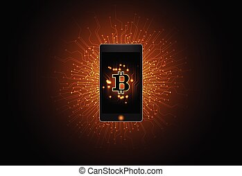 Abstract technology concept futuristic phone Money digital...