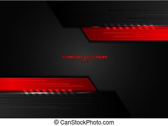 Abstract technology concept geometric black and red with lighting on dark background.