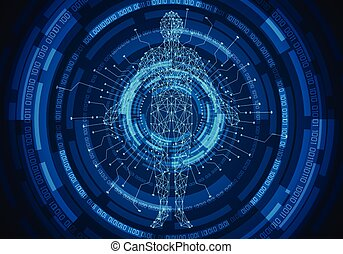 abstract technology concept human body digital health care and circle link digital binary future design on hi tech background
