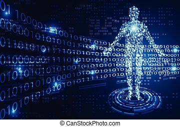 abstract technology concept human digital link and binary on hi tech background