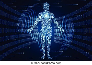 abstract technology concept human digital link on binary hi tech background