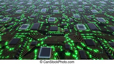 Abstract technology concept with moving green lights and imitation of a printed circuit board on a green background. Internet technologies for business.. High quality 4k footage