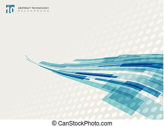 Abstract technology curve overlapped geometric squares shape blue colour perspective with halftone background with copy space.
