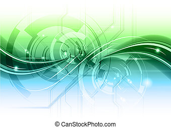 abstract technology backgroun with the blue and green...
