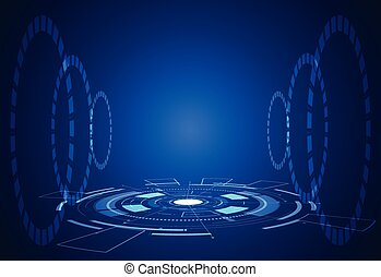 abstract technology futuristic concept interface hologram elements of digital data chart, communication, computing and circle percent vitality innovation on hi tech future design background
