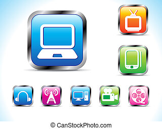 abstract technology icon with button