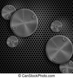 Abstract Technology Metal Texture Button.