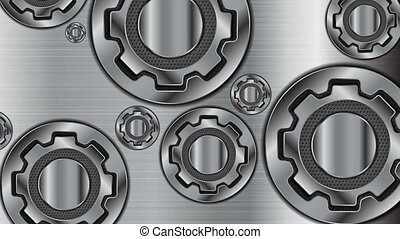Abstract technology metallic gears mechanism video animation...