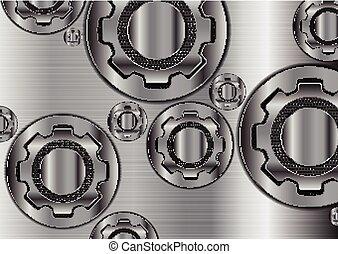 Abstract technology metallic gears vector design