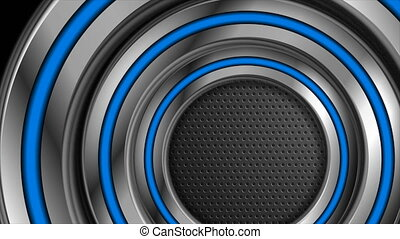 Abstract technology motion design with silver and blue circles