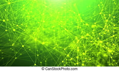 Abstract technology network with green background