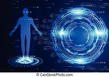 abstract technology science concept modern circle blue light and human digital on hi tech binary background