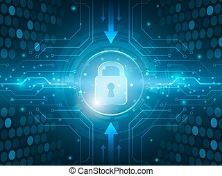 Abstract technology security global innovation network...