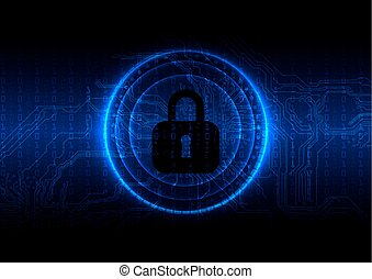 Abstract technology security on circuite and digital background. vector illustration