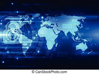 Abstract technology security on global network background, vector illustration