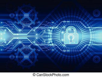 Abstract technology security on global network background, ...