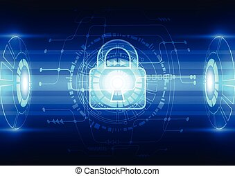 Abstract technology security on network background, vector illustration