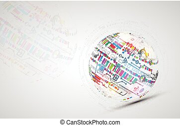Abstract technology sphere background.