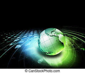 abstract technology background with the planet on a dark...