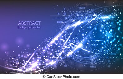 Abstract technology vector background. Composition has bright lights and blurry particles.