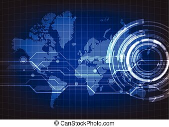 Abstract technology with world map background