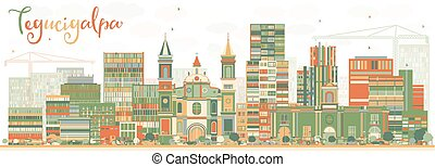 Abstract Tegucigalpa Skyline with Color Buildings. Vector...