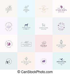 abstract, tekens & borden, logo, kwaliteit, set., retro, voorbeelden, premie, lam, illustratie, eend, vrouwelijk, typografie, eenhoorn, floral, elephant., zestien, vogels, jachthond, vector, fijn, emblems., of