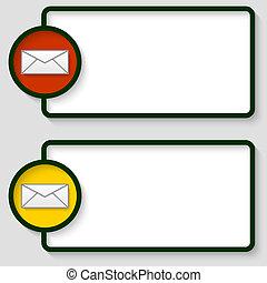 abstract, tekst, frame, met, enveloppe