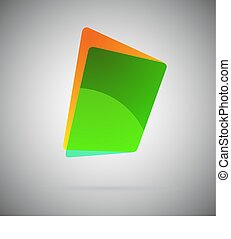 Abstract Template Geometric Icon Green Folder