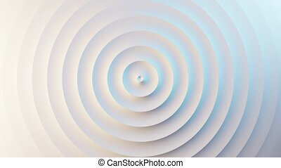 Abstract template with animation of white circular waves. Background for your presentation. Seamless loop 4k 60 fps video. 3D illustration