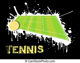 Tennis ball and field on a background of blots of paint