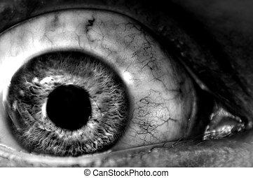 Abstract closeup of a dark eyeball wide open.