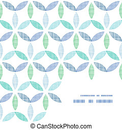 Abstract textile blue green leaves frame corner pattern background
