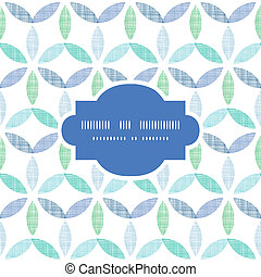 Abstract textile blue green leaves frame seamless pattern background