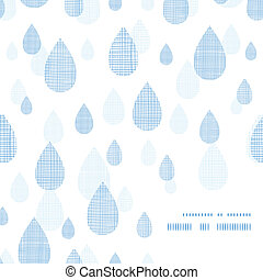 Abstract textile blue rain drops corner frame pattern background