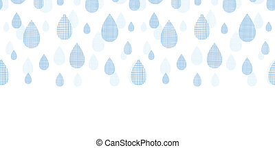 Abstract textile blue rain drops horizontal seamless pattern background