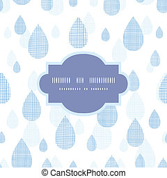 Abstract textile blue rain drops seamless frame pattern background