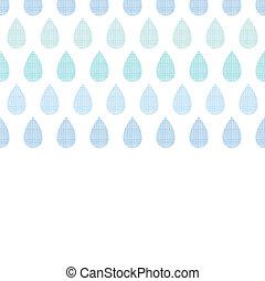Abstract textile blue rain drops stripes horizontal seamless pattern background