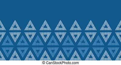 Abstract textile blue triangles ikat horizontal seamless pattern background