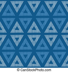 Abstract textile blue triangles ikat seamless pattern background