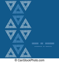 Abstract textile blue triangles ikat vertical seamless pattern background