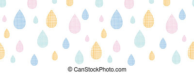 Abstract textile colorful rain drops horizontal seamless pattern background