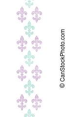 Abstract textile fleur de lis stripes vertical seamless pattern background