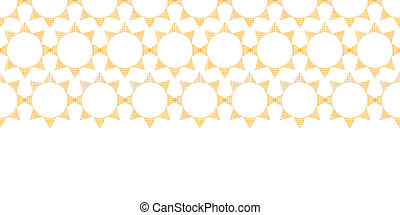 Abstract textile golden suns geometric horizontal seamless pattern background