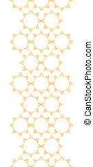 Abstract textile golden suns geometric vertical seamless pattern background