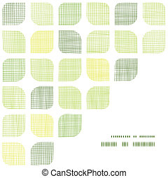 Abstract textile green rounded squares frame corner pattern...